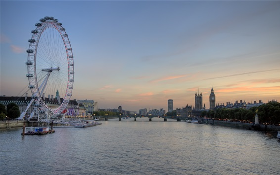 Papéis de Parede Londres, rio Tamisa, roda gigante, ponte, crepúsculo