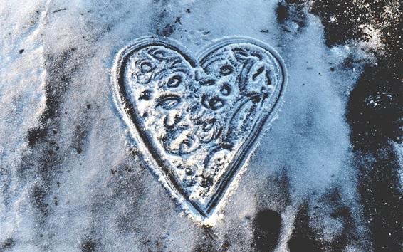Wallpaper Love heart, snow, winter