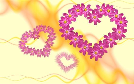 Обои Любовь сердца цветы, розовые лепестки