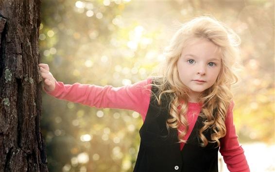 Wallpaper Lovely blonde little girl, child photography