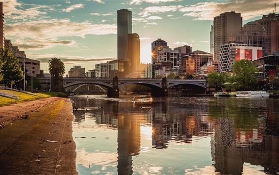 Wallpaper Melbourne, Australia, skyscraper, cityscape, river, bridge, sunshine