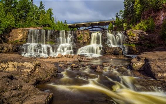 Wallpaper Minnesota, waterfall, Gooseberry Falls, USA