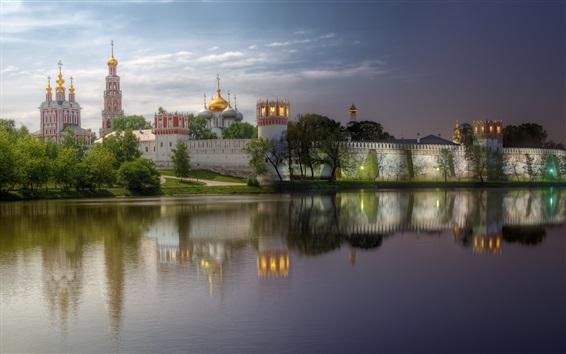 Fond d'écran Monastère, Moscou, soir, rivière, réflexion d'eau