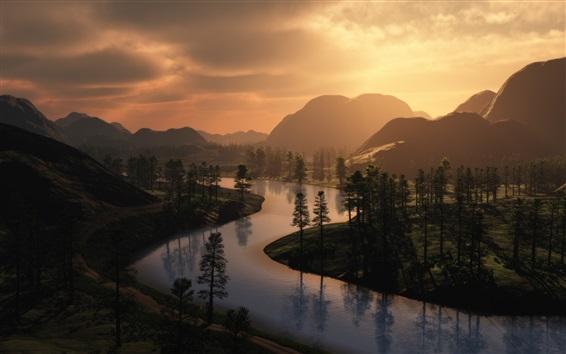 Papéis de Parede Manhã, montanhas, floresta, árvores, amanhecer, nevoeiro
