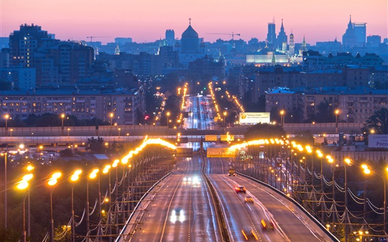 Wallpaper Moscow, Russia, lights, evening, city, road, cars, buildings