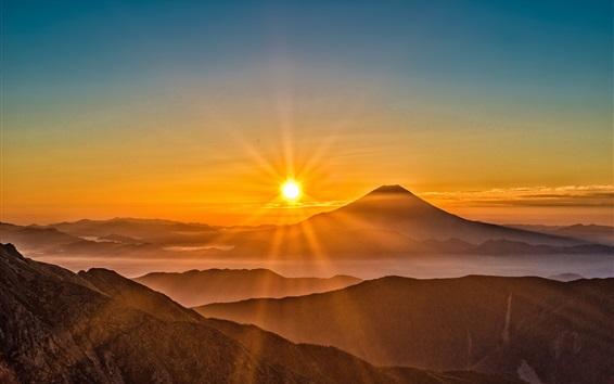 Wallpaper Mount Fuji, sunrise, fog, mountains, Japan