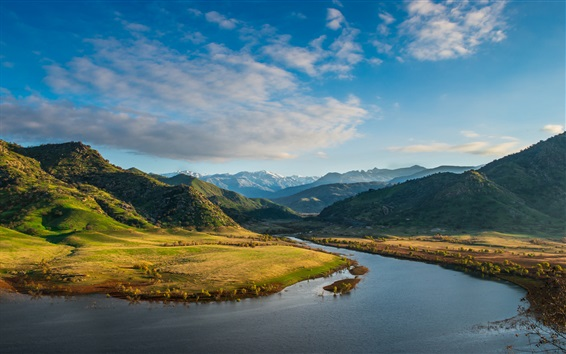 Fond d'écran Montagnes, Lac Kaweah, Arbres, Nuages, Ciel, Californie, Etats-Unis