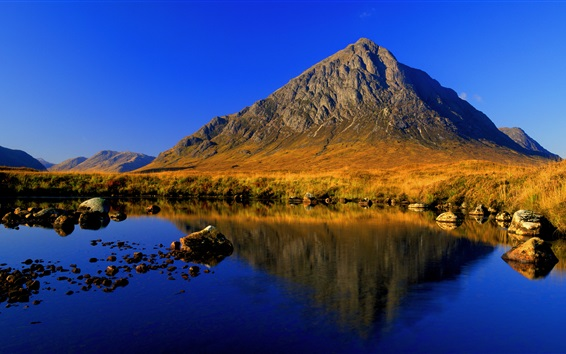 Wallpaper Mountains, lake, blue sky, clear water