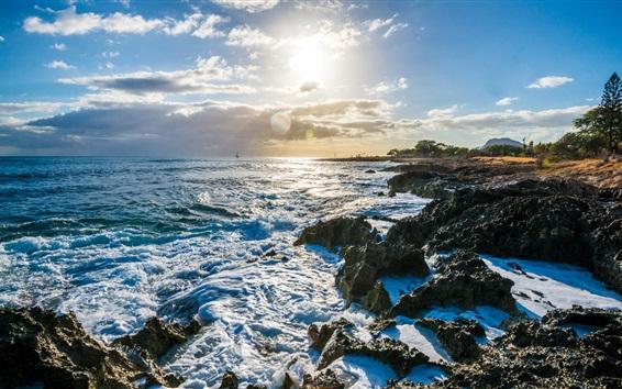 Обои Нанакули, Гавайи, США, море, берег, волны, облака, солнце