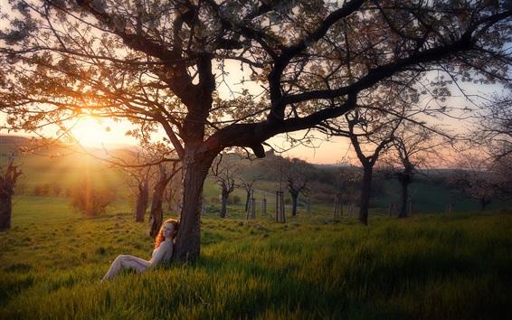 Fond d'écran Nature, herbe, arbres, fille, lever du soleil