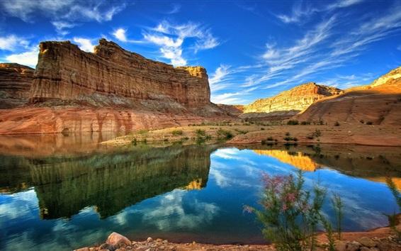 Wallpaper Nature landscape, rock mountains, lake, blue sky, clouds