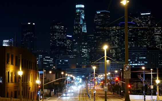 Wallpaper Night city street, lights, skyscrapers