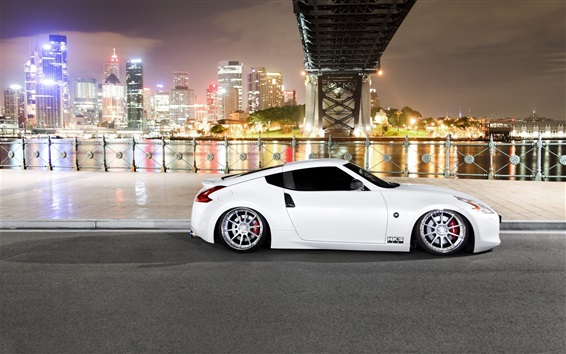壁纸 日产370Z白车,夜晚,城市