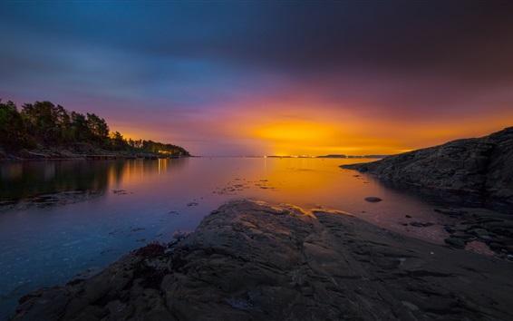 Обои Норвегия, залив, море, архипелаг, деревья, закат