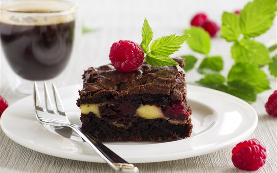 Wallpaper One piece chocolate cake, mint, berries