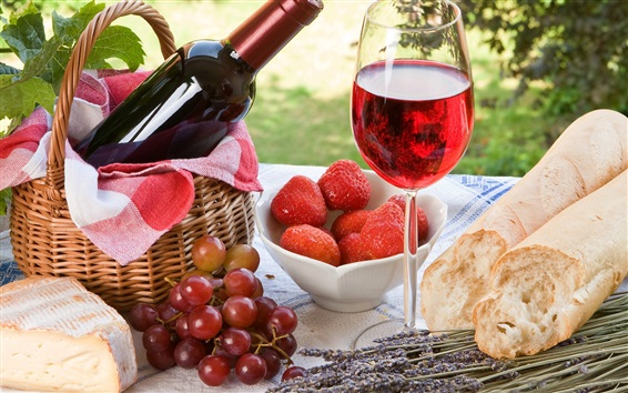 Wallpaper Outdoor, picnic, bread, cake, strawberries, grapes, wine, glass cup