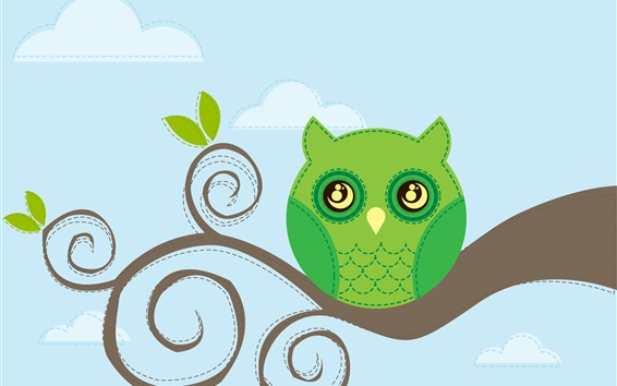 Wallpaper Owl, tree branch, vector design