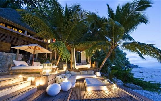 Wallpaper Palm trees, evening, hut, sofa, lights, sea