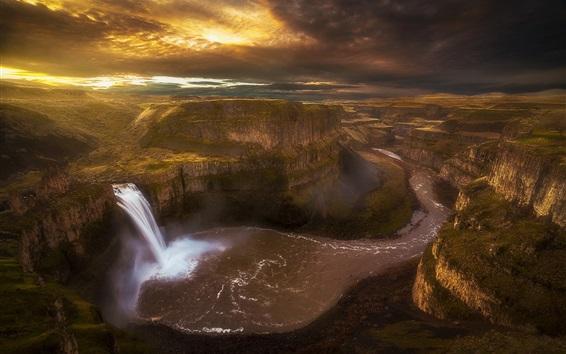Wallpaper Palouse waterfall, canyon, river, morning, Washington, USA