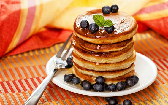Wallpaper Pancakes, blueberries, dessert, food