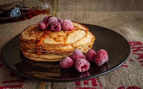 Wallpaper Pancakes, raspberries, honey