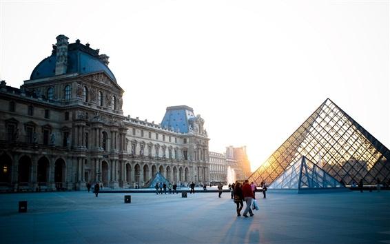 Papéis de Parede Paris, frança, louvre, quadrado, pessoas