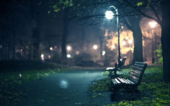 Wallpaper Park, bench, path, lights, night, glare