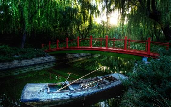 Fond d'écran Parc, saule, arbres, pont, rivière, bateaux, soleil