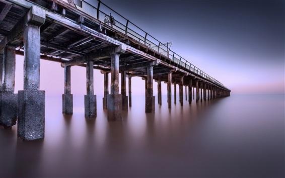 Wallpaper Pier, sea, dusk