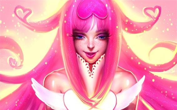 Papéis de Parede Menina de fantasia de cabelo rosa, olhos azuis, corações de amor