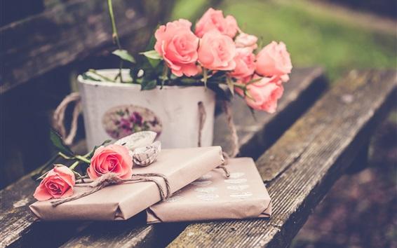 Fond d'écran Roses roses, banc