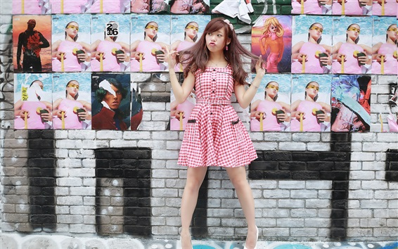 Wallpaper Playful girl, wall, posters