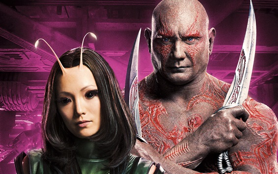 Wallpaper Pom Klementieff, Dave Bautista, Guardians of the Galaxy 2