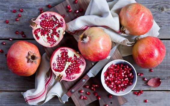 Wallpaper Pomegranate, knife, fruit photography