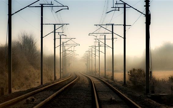 Wallpaper Power line, railroad, fog, morning