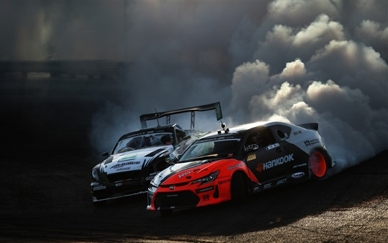 Wallpaper Race cars, drift, smoke