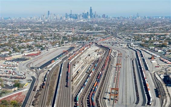 Wallpaper Rail station, train, track, city, Chicago, USA