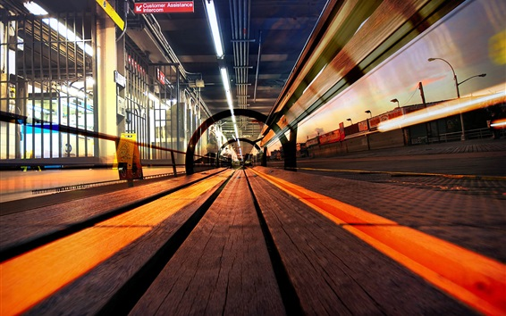 Wallpaper Railroad, track, city, lights