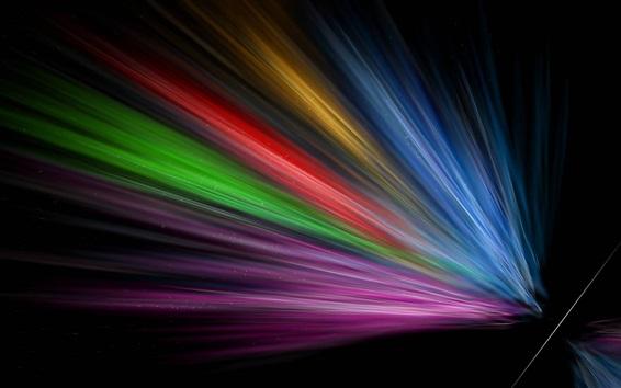 Wallpaper Rainbow rays, black background