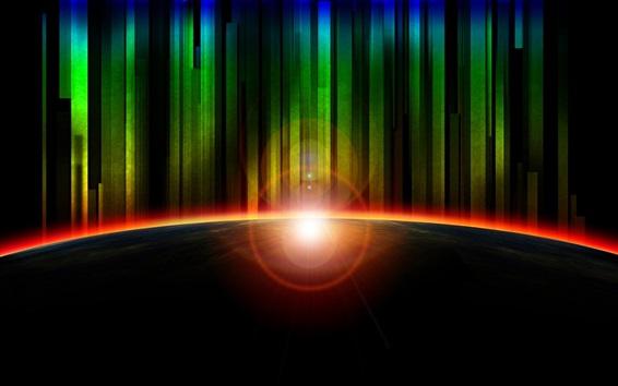 Wallpaper Rainbow rays, glare, light, planet, abstract art