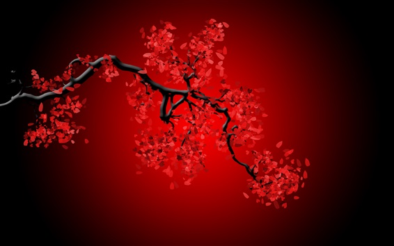 Wallpaper Red flowers, twigs, creative picture