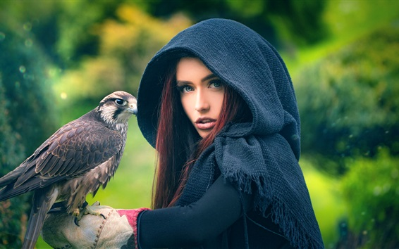 Wallpaper Red hair girl and eagle