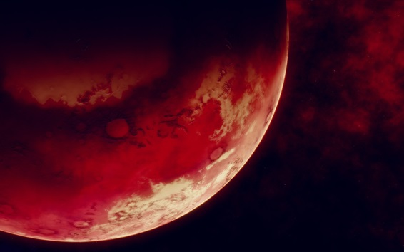 Wallpaper Red planet, space, black background