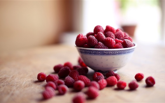 Wallpaper Red raspberries, bowl