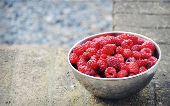 Wallpaper Red raspberries, fruit, bowl