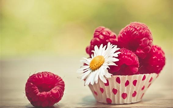 Обои Красная малина и цветок ромашки