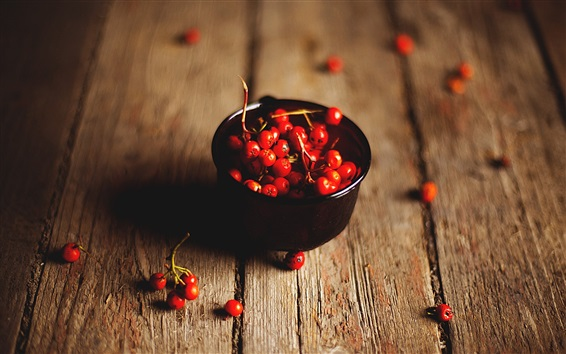 Wallpaper Red rowan berries, wood board