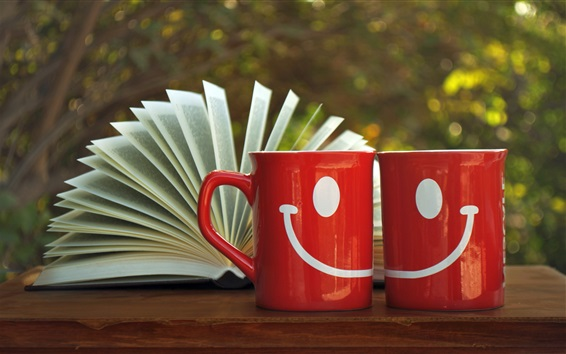 Papéis de Parede Copos vermelhos do smiley, livro