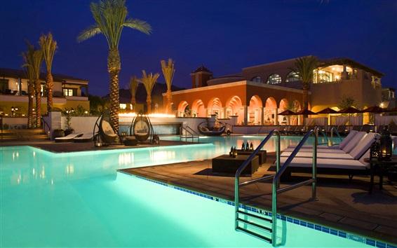 Wallpaper Resort, evening, pool, chair, sofa