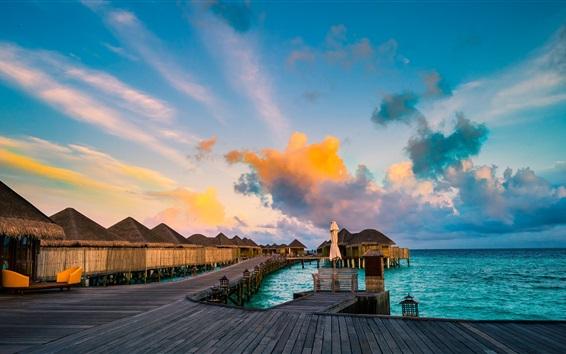 Обои Курорты, побережье, море, хижины, облака